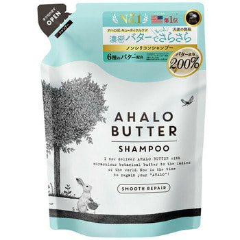 """Cosme Company """"Ahalo Butter Shampoo Smooth Repair"""" Восстанавливающий пенный шампунь для гладкости, блеска и здорового роста волос, без сульфатов и силикона, сменная упаковка, 400 мл."""
