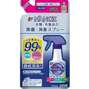 """Lion """"Top Nanox"""" Дезинфицирующий и дезодорирующий спрей для одежды и изделий из ткани, сменная упаковка, 320 мл. (фото)"""