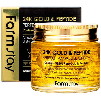 "FarmStay ""24K Gold & Peptide Perfect Ampoule Cream"" Ампульный крем с золотом и пептидами, 80 мл."