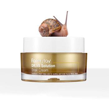 """FarmStay """"Dr-V8 Solution Snail Cream"""" Крем с муцином улитки, 50 мл. (фото)"""