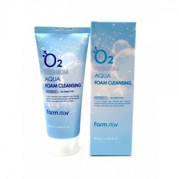 """FarmStay """"O2 Premium Aqua Foam Cleansing"""" Очищающая пенка с кислородом, 100 мл. (фото)"""