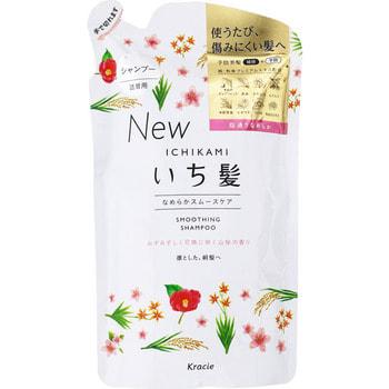 """Kracie """"Ichikami"""" Шампунь разглаживающий для поврежденных волос с ароматом горной сакуры, 340 мл, сменная упаковка."""