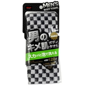 "Aisen ""Men's Skin Texture"" Мочалка массажная мужская жесткая, удлиненная, 28Х120 см., черно-белая (фото)"