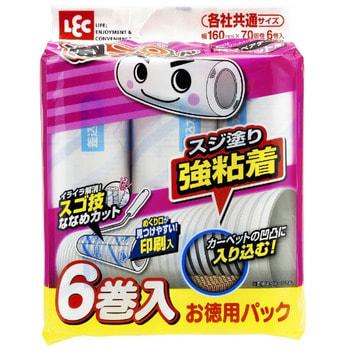 LEC Сменные блоки липкой ленты для чистки ковров, усиленные, с перфорацией, 6 шт.