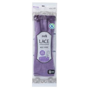 """Clean Wrap """"Lace latex gloves"""" Перчатки из натурального латекса, с внутренним покрытием, укороченные, с крючками для сушки, фиолетовые, размер M, 1 пара."""