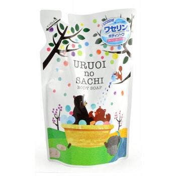 """MAX """"Uruoi No Sachi Body Soap"""" Жидкое мыло для тела, с ароматом персика, сменная упаковка, 400 мл."""