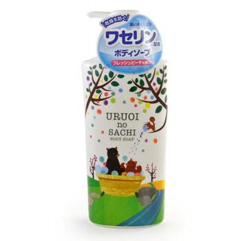 """MAX """"Uruoi No Sachi Body Soap"""" Жидкое мыло для тела, с ароматом персика, 450 мл."""