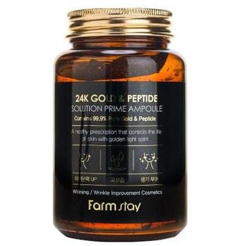 """FarmStay """"24K Gold & Peptide Solution Prime Ampoule"""" Многофункциональная ампульная сыворотка с золотом и пептидами, 250 мл."""