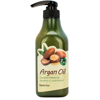 "FarmStay ""Argan Oil Complete Volume Up Shampoo & Conditioner"" Шампунь-кондиционер с aргановым маслом, 530 мл."