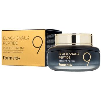 "FarmStay ""Black Snail & Peptide 9 Perfect Cream"" Омолаживающий крем для лица с комплексом из 9 пептидов, 55 мл."