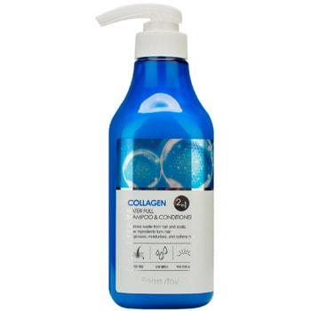 "FarmStay ""Collagen Water Full Shampoo&Conditioner"" Шампунь-кондиционер увлажняющий с коллагеном, 530 мл."