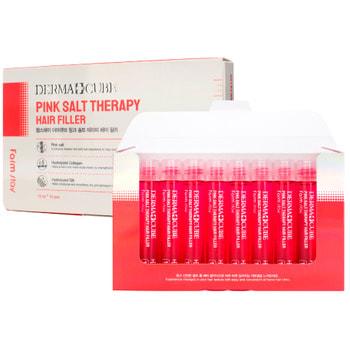 "FarmStay ""Derma cube Pink Salt Therapy Hair Filler"" Укрепляющий филлер с розовой солью для волос, 13 мл * 10 шт."