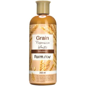 """FarmStay """"Grain Premium White Emulsion"""" Выравнивающая эмульсия с экстрактом ростков пшеницы, 350 мл."""