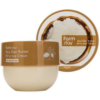 "FarmStay ""Real Shea Butter All-In-One Cream"" Многофункциональный крем с маслом ши, 300 мл."