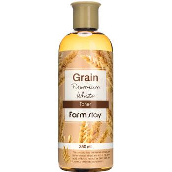 """FarmStay """"Grain Premium White Toner"""" выравнивающий тонер с экстрактом ростков пшеницы, 350 мл."""
