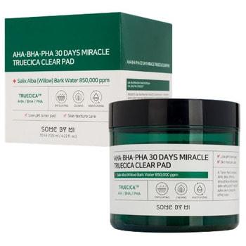 """Some By Mi """"AHA-BHA-PHA 30 Days Miracle Truecica Clear Pad"""" отшелушивающие подушечки для проблемной кожи с AHA, BHA, PHA кислотами, 70 шт."""