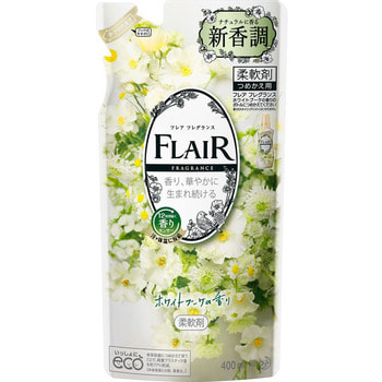 """KAO """"Flair Fragrance White Bouquet"""" Кондиционер-смягчитель для белья, с изящным ароматом белых цветов, сменная упаковка, 400 мл."""