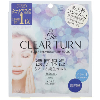 "Kose Cosmeport ""Clear Turn Premium Fresh Mask Clear Skin"" Тканевая маска для лица освежающая и осветляющая, 3 шт."
