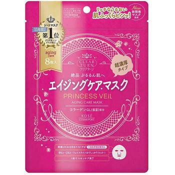 """Kose Cosmeport """"Clear Turn Princess Veil Aging Care Mask"""" Омолаживающая хлопковая маска для лица 5-в-1, с легким фруктово-цветочным ароматом, 8 шт."""