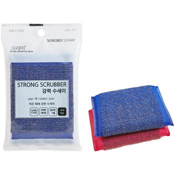 """SC """"Strong Scrubber"""" Губка для мытья кастрюль, сковород и чистки овощей со стальной металлической нитью, особо жёсткая, 13 х 9 х 1,5 см, 1 шт."""