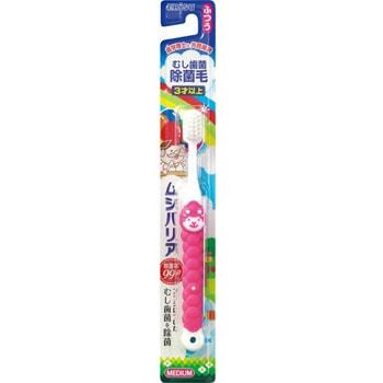 """Ebisu Детская зубная щетка """"Зверята"""" с широкой головкой и прорезиненной ручкой для самостоятельной чистки зубов, от 3 лет."""