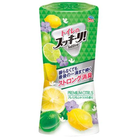 """Earth Biochemical """"Sukki-ri!"""" Жидкий дезодорант-ароматизатор для туалета, с фруктовым ароматом, """"Премиальный цитрус"""", 400 мл. (фото)"""