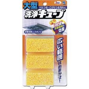 """KOBAYASHI Очищающая губка """"Cleaning Cube"""" с апельсиновым маслом для удаления загрязнений, 3 шт."""