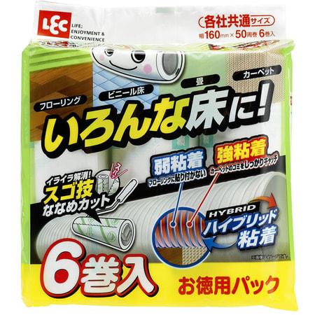 LEC Сменные блоки липкой ленты для чистки полов, универсальные, 6 шт. х 50 листов.