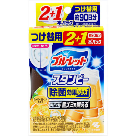"""Kobayashi """"Bluelet Stampy Orange"""" Дезодорирующий очиститель-цветок для туалетов, с ароматом апельсина, запасной блок, 28 гр.х 3 шт. (фото)"""