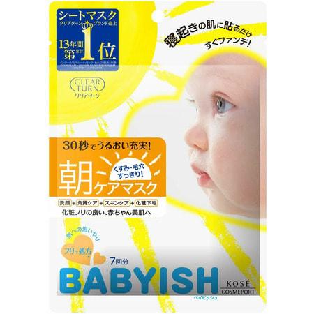 """Kose Cosmeport """"Clear Turn Babyish Morning Care Mask"""" Маска для утреннего ухода за кожей лица, с коллагеном и гиалуроновой кислотой, 7 шт. (фото)"""