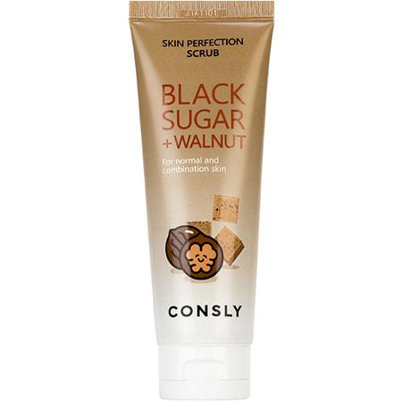 """Consly """"Black Sugar & Walnut Skin Perfection Scrub"""" Скраб для лица с черным сахаром и экстрактом грецкого ореха, 120 мл."""