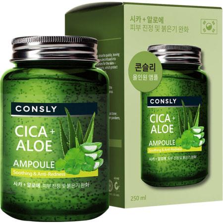 """Consly """"Cica & Aloe All-in-One Ampoule"""" Многофункциональная успокаивающая ампульная сыворотка с центеллой азиатской и алоэ, 250 мл. (фото)"""