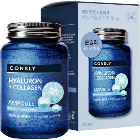 """Consly """"Hyaluronic Acid & Collagen All-in-One Ampoule"""" Многофункциональная укрепляющая ампульная сыворотка, с гиалуроновой кислотой и коллагеном, 250 мл. (фото)"""