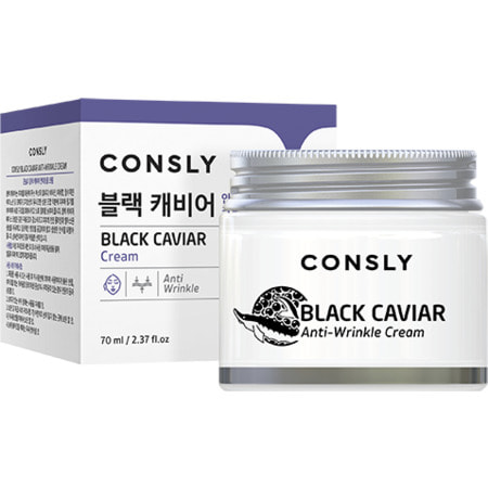 """Consly """"Black Caviar Anti-Wrinkle Cream"""" Крем для лица против морщин, с экстрактом черной икры, 70 мл. (фото)"""