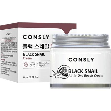 """Consly """"Black Snail All-In-One Repair Cream"""" Крем для лица многофункциональный восстанавливающий с муцином черной улитки, 70 мл. (фото)"""