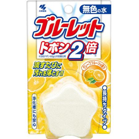 "KOBAYASHI ""Bluelet Dobon W""Двойная очищающая и дезодорирующая таблетка для бачка унитаза с ароматом грейпфрута, 120 гр."