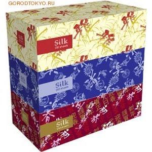 GOTAIYO Silk Двухслойные салфетки, 250 шт., 3 пачки в упаковке.Бумажные салфетки<br>Оригинальный дизайн упаковки, гармонично сочетающийся с любым интерьером, мягкая, нежная поверхность и прекрасные впитывающие свойства салфеток обеспечивает чистоту и комфорт в повседневной жизни.  Дизайн упаковки Silk повторяет традиционные японские узоры, использующиеся для росписи шелковых тканей.<br>