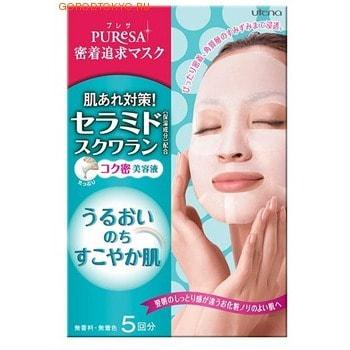 UTENA Puresa Маска-салфетка с церамидами и скваланом, 5 шт. в упаковке.МАСКИ ДЛЯ ЛИЦА<br>Маски серии Puresa, пропитанные увлажня-ющими и питательными ингредиентами - эффективный способ преобразить Вашу кожу, сделать ее упругой, здоровой и красивой.  Благодаря тому, что сыворотка, которой пропитана маска, имеет тройную концентрацию активных компонентов, маска за короткое время отдает всю силу полезных ингредиентов Вашей коже. Церамиды, в составе сыворотки, являются важнейшими компонентами клеточной мембраны, обеспечивающие нормальное клеточное дыхание. Проникая в кожу, способствуют эффективному удержанию влаги в ее структуре. Сквалан так же прекрасно увлажняет и смягчает, предотвращает появление ощущения сухости кожи. Маска плотно прилегает к коже, обеспечивая этим интенсивное проникновение лосьона в роговой слой кожи. Не содержит красителей и ароматизаторов. ПРИМЕНЕНИЕ: откройте упаковку и выньте из неё маску. Распрямите маску, выдавите наружу участки, закрывающие глаза. Приложите маску к лицу, затем наклейте выдавленные части на участки глаз. Через 10-15 минут снимите маску. Используйте 1 - 2 раза в неделю. Состав: вода, минеральное масло, бутиленгликоль, глицерин, этиловый спирт, полиэтиленгликоль-25-стеарат, церамиды-2, сквалан, дипропиленгликоль, ксантан-товая камедь, карбомер, глицерил стеарат, глицерил стеарат (самоэмульгирующийся), полиэтиленгликоль-10-стеарат, полиэтиленгликоль-20-изостеарат сорбитан, полипропиленгликоль-4-стес-20, гидроксид натрия, ди-этилгексонат неопентил гликоль, диметикон, сетанол, феноксиэтанол, метилпарабен, бутилпарабен.<br>