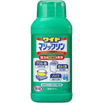 KAO «Wide Magiclean – Магия чистоты» - Универсальный порошок-очиститель для очистки сковороды, гриля, для удаления запаха из водосточных труб, для мытья барабанов стиральных машин и др., 360 гр.Для ухода за стиральной машиной<br>Порошок подходит для очищения посуды, кухонных плит, СВ-печей, духовых шкафов, для удаления запаха из водосточных трубы, для мытья барабанов стиральных машин.  Прекрасно удаляет накипь, подгары, масляные и жировые пятна, плесень и другие трудно выводимые загрязнения.  Дезинфицирует и уничтожает стойкие неприятные запахи!<br> ПРИМЕНЕНИЕ: <br>-Для посуды - разбавить 9 гр. средства на 1 л. теплой воды и помыть посуду. Замачивание: посуда - от 30 до 60 минут. Чайник и кастрюли -  от 1 час до 2 часов.  -Для стиральных машин: насыпать 4 колпачка порошка, затем в обычном режиме стирки прополоскать барабан. -Для очищения водосточнох труб: насыпать 18 гр. и залить 1 стаканом воды. Оставить на 4 часа. <br> Состав: пенообразователь (перкарбонат натрия), щелочь (карбонатные), ингибитор коррозии, стабилизатор, ПАВ (алканоилокси сульфонат натрия бензол 12%).<br>