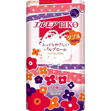 "Kami Shodji Туалетная бумага 2-х-слойная ""Ellemoi Piko"", 12 рулонов по 25 метров."