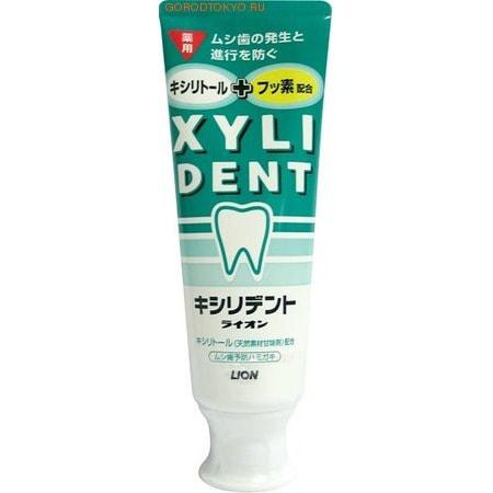 LION Зубная паста отбеливающая с фтором для укрепления зубной эмали XYLIDENT, 120 гр.Зубные пасты<br>Зубная паста Xylident с фтором укрепляет зубную эмаль, предотвращает возникновение и развитие кариеса.  -Фторид натрия ускоряет процесс кальцифицирования поверхности зубов, подавляет кислую среду, которая является причиной возникновения кариеса, а также делает зубы здоровыми и крепкими.  -Фтор и ксилитол способствуют укреплению зубной эмали, надолго помогают сохранить красоту и здоровье зубов.  -Мягкая консистенция позволяет использовать зубную пасту для чистки зубов электрической щеткой.  -Содержит ксилитол - подсластитель на основе натуральных компонентов. <br>  Состав: оксид кремния грубой очистки (чистящий/ полирующий компонент), сорбитол, пропиленгликоль (увлажнители), фторид натрия (активный лечебный компонент), лаурилсульфат натрия (пенообразующий компонент), ксантановая смола (загуститель), отдушка перечной мяты (ароматизатор), ксилитол (подсластитель), оксид титана (стабилизатор), -ментол (освежитель), парабен (консервант).<br>