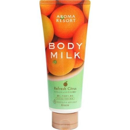 KRACIE Питательное молочко для тела Aroma Resort - аромат цитруса, 220 гр.Кремы, лосьоны, молочко<br>Молочко обеспечивает интенсивное 24-часовое увлажнение и защиту кожи, питает, смягчает и успокаивает, заряжает энергией, придает коже эластичность и здоровый вид. Цитрусовый аромат освежает и поднимает настроение. Розовая вода в составе средства обладает эффективными увлажняющими   свойствами, тонизирует и омолаживает кожу. Масло авокадо стимулирует выработку коллагена, предотвращает появления пигментных пятен, устраняет раздражения и угревую сыпь, усиливает барьерные функции кожи. Экстракт томатов повышает упругость и улучшает цвет кожи. Фруктовые соки насыщают кожу витаминами, стимулируют клеточный метаболизм и восстанавливают кожу.<br>Способ применения: равномерно нанесите молочко на тело. Рекомендуется делать массаж с использованием данного средства.<br>