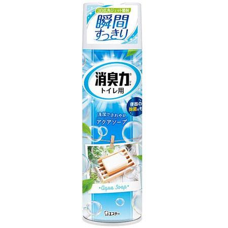 ST Shoushuuriki Спрей-освежитель воздуха для туалета с ароматом свежести, 330 мл.Для туалета<br>Серия освежителей Shoushuuriki (дезодорирующая сила) для туалетов с натуральными дезодорирующими компонентами (содержит катехин и экстракты растений).  Благодаря широкоугольному распылению усиливается эффект дезодорации.  Антибактериальные компоненты позволяют надолго  содержать туалет в чистоте. Особенности продукта: - Обладает приятным ароматом  - Содержит природные дезодорирующие компоненты - Антибактериальный эффект - Система очистки баллона после использования. Способ применения: распыляйте с расстояния более 30 см. от поверхности (не распыляйте на стульчак).   Срок применения: 250 нажатий.<br>