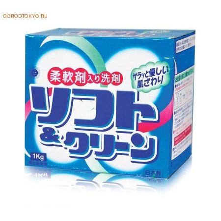 """Sankyo Yushi """"Soft and clean"""" Смягчающий стиральный порошок с ферментами, для белых и цветных тканей, 1 кг."""