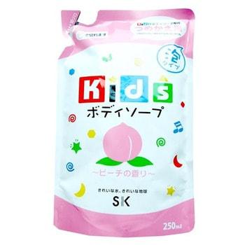 SK Kids Детское пенное мыло для тела с ароматом персика, 250 мл., мягкая экономичная упаковка.