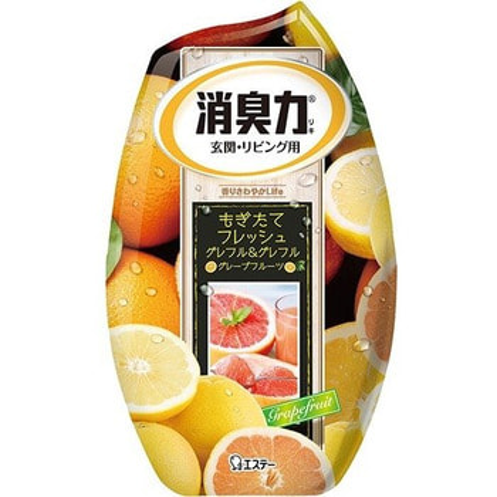 ST Shoushuuriki Жидкий дезодорант – ароматизатор для комнат с ароматом грейпфрута, 400 мл.Для комнаты<br>Серия дезодорирующих ароматизаторов Shoushuuriki - дезодорирующая сила  для комнат, предлагает Вам букет восхитительных ароматов на любой вкус. Особенностью продукта является наличие в составе природных дезодорирующих компонентов, которые быстро и эффективно избавят от неприятных запахов, наполнив комнату мягким, изысканным ароматом. Флакон ароматизатора с функцией регулирования интенсивности аромата обладает простым дизайном, идеально подходящим для комнаты. Способ применения: вскройте пленку по линиям отрыва. Снимите верхнюю крышку, повернув ее, удалите только внутренний белый колпачек, после чего установите в первоначальное положение верхнюю крышку и поставьте изделие на ровную поверхность.  Состав: эфирные масла растений, ароматические вещества, поверхностно-активные вещества (неионогенное поверхностно-активное вещество, анион).<br>