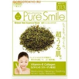 SUN SMILE Essence mask Антиоксидантная маска для лица с эссенцией зелёного чая 23 мл., 1 шт.МАСКИ ДЛЯ ЛИЦА<br>Делает кожу увлажнённой и упругой. Содержит витамин Е и коллаген. Увлажняет, расслабляет и успокаивает. Для всех типов кожи во все сезоны. Кожа становится увлажнённой, упругой, на неё хорошо наносится макияж.  Содержит экстракт листьев чая (1,2%) ; для подтягивания кожи, а также для поддержания гидролипидного баланса кожи. Подходит для всех типов кожи ; от сухого, до жирного.  Содержит двукалий глицирризиновой кислоты ; для предотвращения огрубения кожи и поддержания её здорового вида.  Содержит витамин Е и коллаген ; для придания упругости и сияния уставшей коже, а также для её защиты. Экстракт гамамелиса ; для подтягивания кожи лица, улучшения её структуры, а также для предотвращения её огрубения.  Способ применения: После умывания лица вытрите с него воду. Вскрыв пакет и вынув маску, растяните её и плотно приложите к коже лица, используя отверстия для глаз в качестве ориентиров.  Аккуратно снимите маску через 10-15 минут.  Используйте маску сразу же после вскрытия упаковки.  Использование 3-4 раза в неделю поможет поддержать кожу в здоровом, увлажнённом состоянии.  Применение маски в летний период будет ещё более приятным, если держать её в холодильнике.  Состав: вода, глицерин, PEG/PPG-18/4-сополимер, экстракты листьев чая, растительный коллаген, эритритол, ксантановая камедь, феноксиэтанол, экстракт гаммамелиса, токоферола ацетат, ароматизатор, метилпарабен, PEG-40-гидрогенизированное касторовое масло, PEG-60-гидрогенизированное касторовое масло, алантоин, глицирризинат двукалия, PEG-14M, EDTA-2Na.<br>