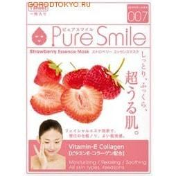 SUN SMILE Pure Smile Обновляющая маска для лица с эссенцией клубники, 23 мл., 1 шт.ДЛЯ КОЖИ СКЛОННОЙ К ВОСПАЛЕНИЯМ И УГРЕВОЙ СЫПИ<br>Делает кожу увлажнённой и приподнятой. Оказывает косметический эффект на кожу лица так, что на следующий день хорошо наносится косметика и имеются хорошие ощущения на коже. Содержит витамин Е и коллаген. Увлажняет, расслабляет и успокаивает. Для всех типов кожи и всех сезонов.Кожа становится увлажнённой, упругой, на неё хорошо накладывается макияж.  Особенности товара: Содержит экстракт плодов Fragaria chiloensis (земляники декоративной) (1,2%) ; предотвращает огрубение кожи и подтягивает её. Подходит для жирной кожи.  Содержит двукалий глицирризиновой кислоты ; для предотвращения огрубения кожи и поддержания её здорового вида.  Содержит витамин Е и коллаген ; для придания упругости и сияния уставшей коже, а также для защиты её.  Экстракт гамамелиса ; для подтягивания кожи лица, улучшения её структуры, а также для предотвращения её огрубения.  Способ применения: 1. После умывания лица вытрите с него воду. <br> 2. Вскрыв пакет и вынув маску, растяните её и плотно приложите к коже лица, используя отверстия для глаз в качестве ориентиров.  4. Аккуратно снимите маску через 10-15 минут.  Используйте маску сразу же после вскрытия упаковки.  Использование 3-4 раза в неделю поможет поддержать кожу в здоровом, увлажнённом состоянии.  Применение маски в летний период будет ещё более приятным, если держать её в холодильнике.  Состав: Вода, глицерин, PEG/PPG-18/4-сополимер, экстракт плодов Fragaria chiloensis (земляники декоративной), растительный коллаген, эритритол, ксантановая камедь, феноксиэтанол, экстракт гаммамелиса, токоферола ацетат, ароматизатор, метилпарабен, PEG-40-гидрогенизированное касторовое масло, PEG-60-гидрогенизированное касторовое масло, алантоин, глицирризинат двукалия, PEG-14M, EDTA-2Na.<br>
