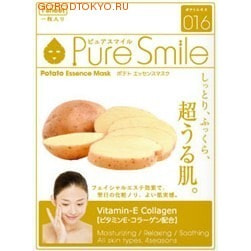 SUN SMILE Essence mask Тонизирующая маска для лица с эссенцией картофеля, 23 мл., 1 шт.МАСКИ ДЛЯ ЛИЦА<br>Содержит витамин Е и коллаген. Увлажняет, расслабляет и успокаивает. Для всех типов кожи во все сезоны.Кожа становится увлажнённой, упругой, на неё хорошо накладывается макияж. Особенности товара:Содержит экстракт картофеля(1,2%) ; для сохранения здорового вида кожи, а также для предотвращения её огрубения. Особенно подходит для сухой кожи. Содержит двукалий глицирризиновой кислоты ; для предотвращения огрубения кожи и поддержания её здорового вида. Содержит витамин Е и коллаген ; для придания упругости и сияния уставшей коже, а также для защиты её. Экстракт гамамелиса ; для подтягивания кожи лица, улучшения её структуры, а также для предотвращения её огрубения. Способ применения:После умывания лица вытрите с него воду и приведите лицо в порядок. Вскрыв пакет и вынув маску, растяните её и плотно приложите к коже лица, используя отверстия для глаз в качестве ориентиров. Аккуратно снимите маску через 10-15 минут. Используйте маску сразу же после вскрытия упаковки. Использование 3-4 раза в неделю поможет поддержать кожу в здоровом, увлажнённом состоянии. Применение маски в летний период будет ещё более приятным, если держать её в холодильнике. Состав: Вода, глицерин, PEG/PPG-18/4-сополимер, экстракт картофеля, растительный коллаген, эритритол, ксантановая камедь, феноксиэтанол, экстракт гаммамелиса, токоферола ацетат, ароматизатор, метилпарабен, PEG-40-гидрогенизированное касторовое масло, PEG-60-гидрогенизированное касторовое масло, алантоин, глицирризинат двукалия, PEG-14M, EDTA-2Na.<br>