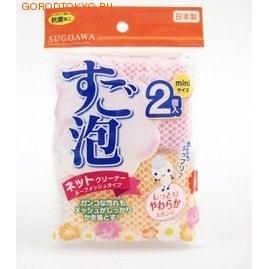 """Towa """"Sugoawa"""" Губка для мытья посуды сетке - размер мини, 2 шт. (2-х. цветов: розовая и оранжевая)."""